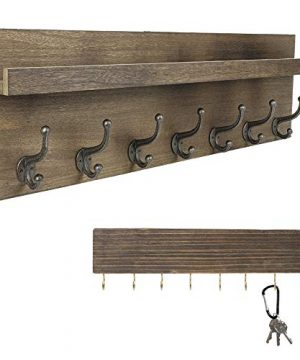 Heavy Duty Rustic Wooden Coat Rack And Entryway Shelf Includes 7 Hooks Top Storage Shelf And Key Chain Holder Size Is 32 X 1025 For Entryway Mudroom Kitchen Bathroom Hallway Foyer 0 300x360