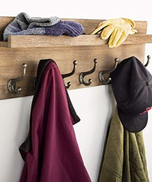 Heavy Duty Rustic Wooden Coat Rack And Entryway Shelf Includes 7 Hooks Top Storage Shelf And Key Chain Holder Size Is 32 X 1025 For Entryway Mudroom Kitchen Bathroom Hallway Foyer 0 4 300x360