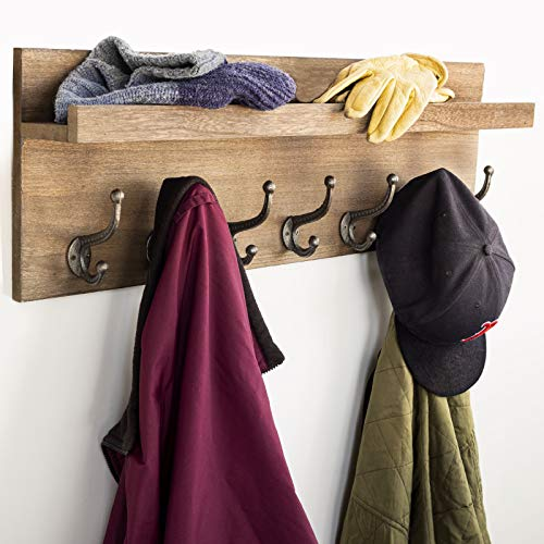 Heavy Duty Rustic Wooden Coat Rack And Entryway Shelf Includes 7 Hooks Top Storage Shelf And Key Chain Holder Size Is 32 X 1025 For Entryway Mudroom Kitchen Bathroom Hallway Foyer 0 4