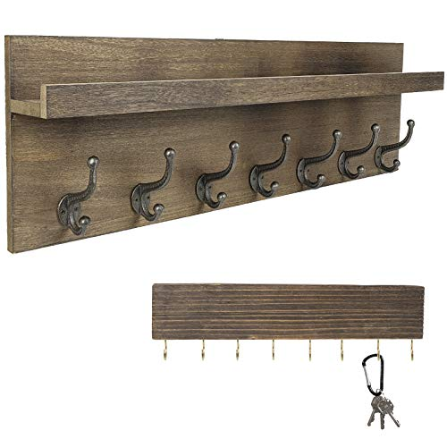 Heavy Duty Rustic Wooden Coat Rack And Entryway Shelf Includes 7 Hooks Top Storage Shelf And Key Chain Holder Size Is 32 X 1025 For Entryway Mudroom Kitchen Bathroom Hallway Foyer 0