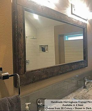 Herringbone Reclaimed Wood EX LARGE Framed Mirror Available In 4 Sizes And 20 Stain Colors Shown In Dark Walnut Bathroom Vanity Mirror Mirror Wall Mounted Rustic Decor 0 300x360