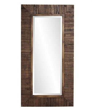 Howard Elliot Timberlane Rustic Wall Mirror Walnut Finished Wood Frame Accent Mirror 0 300x360