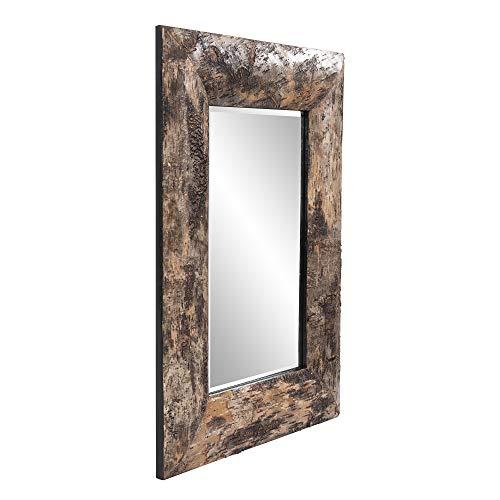 Howard Elliott Kawaga Rectangular Hanging Wall Mirror Natural Rustic Lodge Style Birch Bark Frame 26 X 36 Inch 0 0