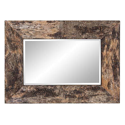 Howard Elliott Kawaga Rectangular Hanging Wall Mirror Natural Rustic Lodge Style Birch Bark Frame 26 X 36 Inch 0