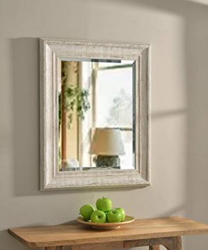 Hunter 31 Inch Distressed White Wood Wall Mirror Farmhouse Rustic Beveled Glass Includes Hardware 0 300x360