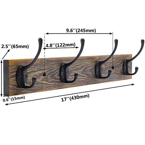 IBosins Wall Mounted Coat Rack Entryway Hanging Coat Rack Metal Wood Coat Rack With 4 Black Literary Rustic Hooks Rail For Coat Scarf Bag Towel Key Cap Cup Hat 0 1