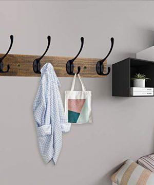 IBosins Wall Mounted Coat Rack Entryway Hanging Coat Rack Metal Wood Coat Rack With 4 Black Literary Rustic Hooks Rail For Coat Scarf Bag Towel Key Cap Cup Hat 0 3 300x360