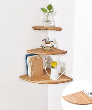 INMAN Wooden Corner Shelf 1 Pcs Round End Hanging Wall Mount Floating Shelves Storage Shelving Table Bookshelf Drawers Display Racks Bedroom Office Home Dcor Accents Oak 14 0 300x360