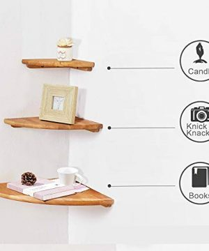IPETSON Corner Shelf1 Pcs Hanging Wall Mounted Floating Corner Shelves Storage Shelving Table Bookshelf Drawers Display Racks Round End Oak Bedroom Office Home Dcor Accents Oak 7 0 2 300x360