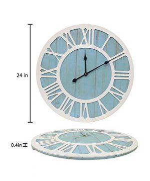 IPOUF Large Wall Clock Solid Wood Clocks Non Ticking Silent Quartz For Farmhouse Home Decorative Coastal Blue 24 Inch 0 0 300x360