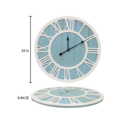 IPOUF Large Wall Clock Solid Wood Clocks Non Ticking Silent Quartz For Farmhouse Home Decorative Coastal Blue 24 Inch 0 0