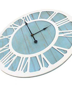 IPOUF Large Wall Clock Solid Wood Clocks Non Ticking Silent Quartz For Farmhouse Home Decorative Coastal Blue 24 Inch 0 2 300x360