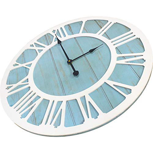 IPOUF Large Wall Clock Solid Wood Clocks Non Ticking Silent Quartz For Farmhouse Home Decorative Coastal Blue 24 Inch 0 2