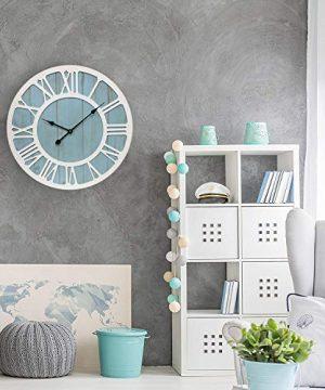 IPOUF Large Wall Clock Solid Wood Clocks Non Ticking Silent Quartz For Farmhouse Home Decorative Coastal Blue 24 Inch 0 3 300x360