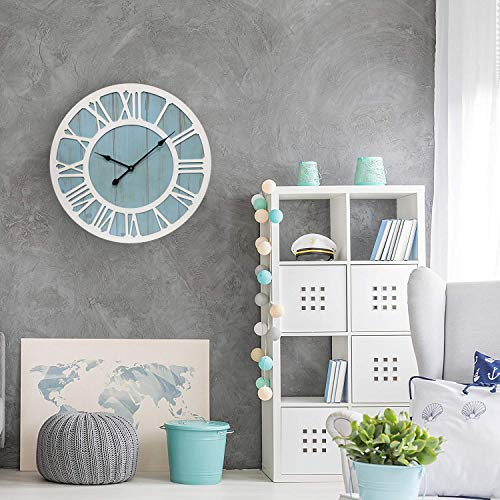 IPOUF Large Wall Clock Solid Wood Clocks Non Ticking Silent Quartz For Farmhouse Home Decorative Coastal Blue 24 Inch 0 3