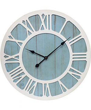 IPOUF Large Wall Clock Solid Wood Clocks Non Ticking Silent Quartz For Farmhouse Home Decorative Coastal Blue 24 Inch 0 300x360