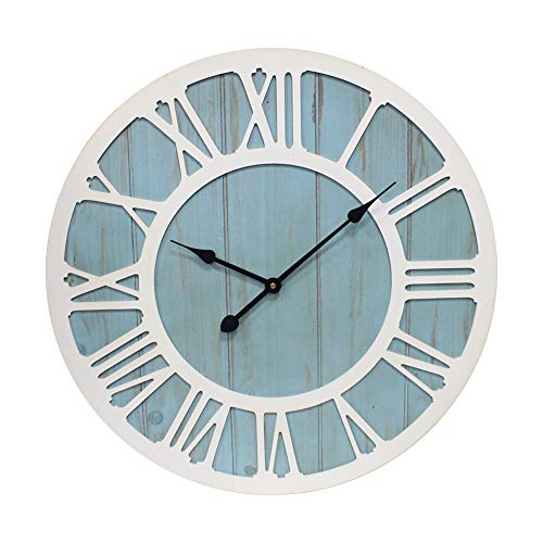 IPOUF Large Wall Clock Solid Wood Clocks Non Ticking Silent Quartz For Farmhouse Home Decorative Coastal Blue 24 Inch 0