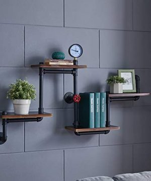 Industrial Rustic Modern Wood Ladder Pipe Wall Shelf 4 Layer Pipe Design Bookshelf DIY Shelving 0 1 300x360