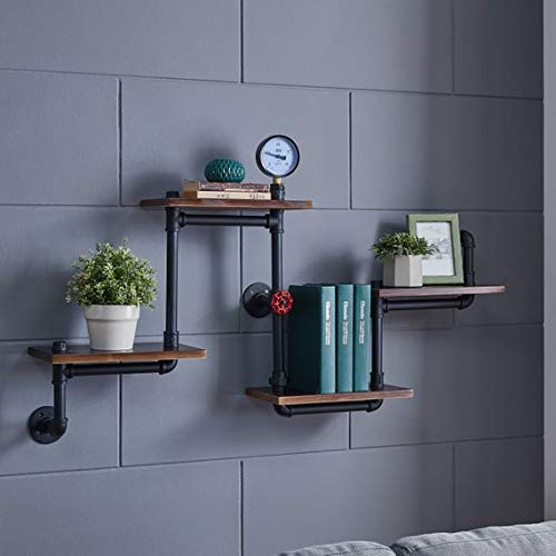 Industrial Rustic Modern Wood Ladder Pipe Wall Shelf 4 Layer Pipe Design Bookshelf DIY Shelving 0 1