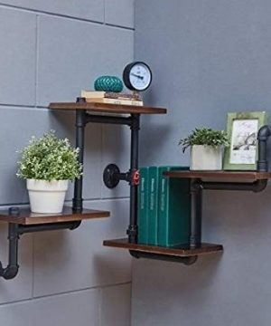 Industrial Rustic Modern Wood Ladder Pipe Wall Shelf 4 Layer Pipe Design Bookshelf DIY Shelving 0 2 300x360