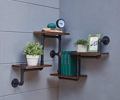 Industrial Rustic Modern Wood Ladder Pipe Wall Shelf 4 Layer Pipe Design Bookshelf DIY Shelving 0 2