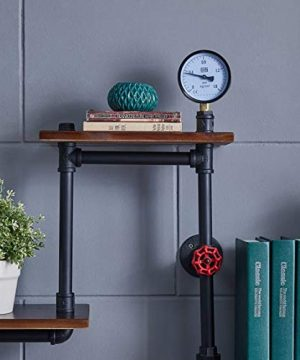 Industrial Rustic Modern Wood Ladder Pipe Wall Shelf 4 Layer Pipe Design Bookshelf DIY Shelving 0 3 300x360