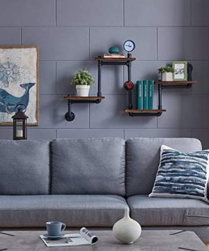 Industrial Rustic Modern Wood Ladder Pipe Wall Shelf 4 Layer Pipe Design Bookshelf DIY Shelving 0 4 300x360