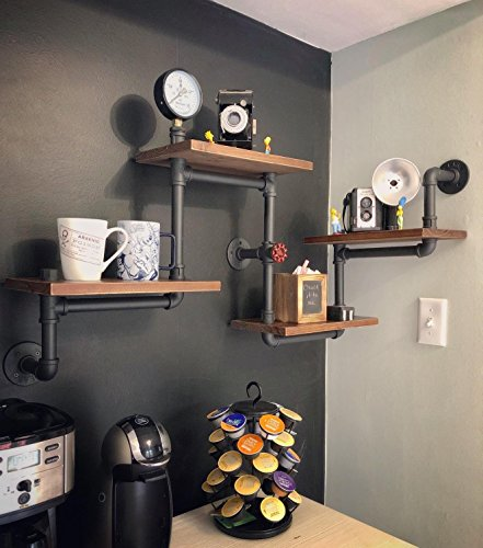 Industrial Rustic Modern Wood Ladder Pipe Wall Shelf 4 Layer Pipe Design Bookshelf DIY Shelving 0