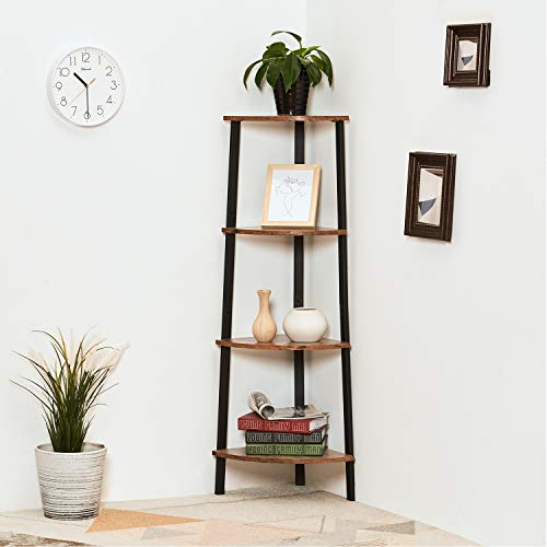 Itaar 4 Tier Corner Shelf Industrial Corner Bookshelf Corner Storage Rack Corner Display Shelf Plant Stand For Living Room Bedroom Home Office Wood Look Accent Furniture With Metal Frame 0 0