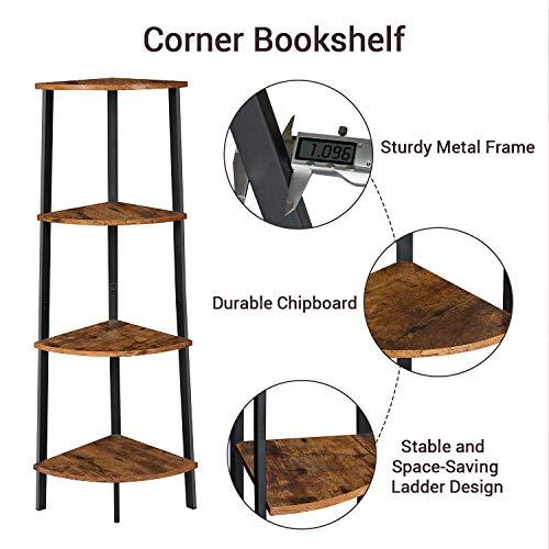 Itaar 4 Tier Corner Shelf Industrial Corner Bookshelf Corner Storage Rack Corner Display Shelf Plant Stand For Living Room Bedroom Home Office Wood Look Accent Furniture With Metal Frame 0 3
