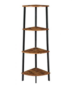 Itaar 4 Tier Corner Shelf Industrial Corner Bookshelf Corner Storage Rack Corner Display Shelf Plant Stand For Living Room Bedroom Home Office Wood Look Accent Furniture With Metal Frame 0 300x360