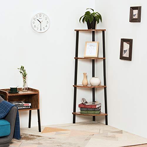 Itaar 4 Tier Corner Shelf Industrial Corner Bookshelf Corner Storage Rack Corner Display Shelf Plant Stand For Living Room Bedroom Home Office Wood Look Accent Furniture With Metal Frame 0 4