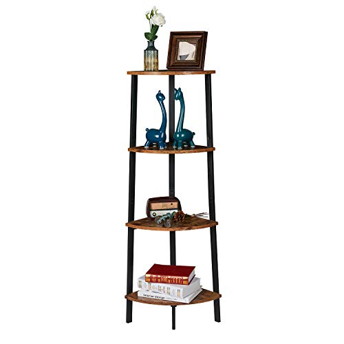 Itaar 4 Tier Corner Shelf Industrial Corner Bookshelf Corner Storage Rack Corner Display Shelf Plant Stand For Living Room Bedroom Home Office Wood Look Accent Furniture With Metal Frame 0 5