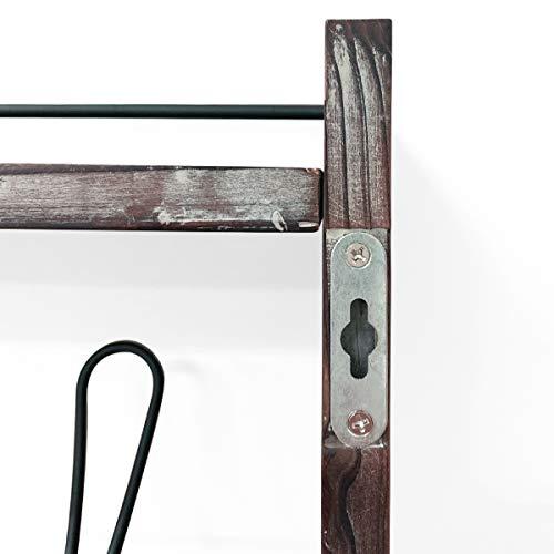 J JACKCUBE DESIGN Rustic Wall Mounted Coat Rack 5 Hooks Wood Floating Shelf Entryway Hanger For Hat Small Bag Key Kids Backpack Leash Decorative Organizer MK508A 0 1