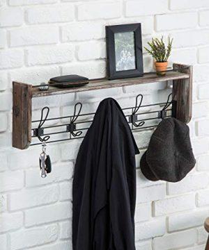 J JACKCUBE DESIGN Rustic Wall Mounted Coat Rack 5 Hooks Wood Floating Shelf Entryway Hanger For Hat Small Bag Key Kids Backpack Leash Decorative Organizer MK508A 0 2 300x360