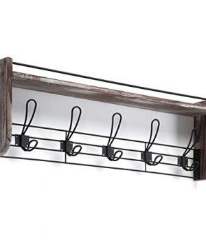 J JACKCUBE DESIGN Rustic Wall Mounted Coat Rack 5 Hooks Wood Floating Shelf Entryway Hanger For Hat Small Bag Key Kids Backpack Leash Decorative Organizer MK508A 0 3 300x360