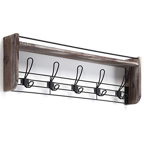 J JACKCUBE DESIGN Rustic Wall Mounted Coat Rack 5 Hooks Wood Floating Shelf Entryway Hanger For Hat Small Bag Key Kids Backpack Leash Decorative Organizer MK508A 0 3