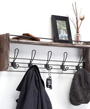 J JACKCUBE DESIGN Rustic Wall Mounted Coat Rack 5 Hooks Wood Floating Shelf Entryway Hanger For Hat Small Bag Key Kids Backpack Leash Decorative Organizer MK508A 0 300x360