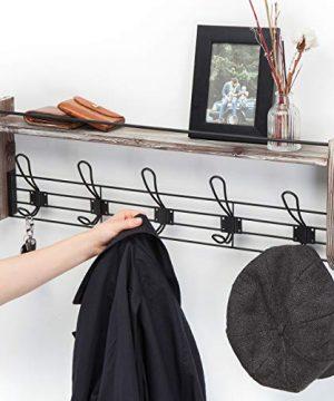 J JACKCUBE DESIGN Rustic Wall Mounted Coat Rack 5 Hooks Wood Floating Shelf Entryway Hanger For Hat Small Bag Key Kids Backpack Leash Decorative Organizer MK508A 0 4 300x360