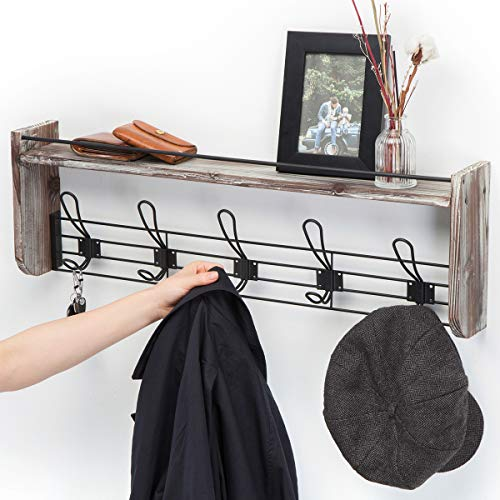 J JACKCUBE DESIGN Rustic Wall Mounted Coat Rack 5 Hooks Wood Floating Shelf Entryway Hanger For Hat Small Bag Key Kids Backpack Leash Decorative Organizer MK508A 0 4
