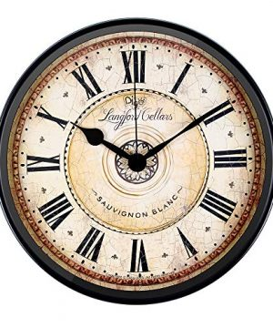 JUSTUP Wall Clock 12 Inch Metal Black Wall Clock European Style Retro Vintage Clock Non Ticking Whisper Quiet Battery Operated With HD Glass Easy To Read For Indoor Decor Black 12 0 300x360