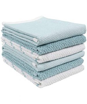 KAF Home Ayesha Curry Mixed Utility Kitchen Towel Set Set Of 6 Mixed Terry Kitchen Towels Absorbent Kitchen Towels Perfect For Spills Drying Dishes Cooking And Any Household Mess Aqua 0 300x360