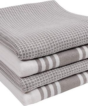 KAF Home Kitchen Towels Set Of 4 Absorbent Durable And Soft Towels Perfect For Kitchen Messes And Drying Dishes 18 X 28 Inches Drizzle 0 300x360