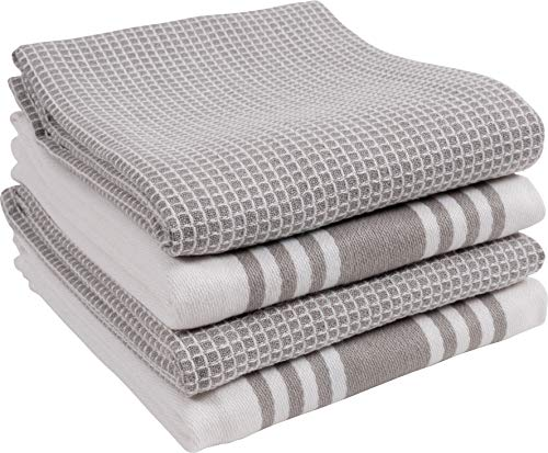 KAF Home Kitchen Towels Set Of 4 Absorbent Durable And Soft Towels Perfect For Kitchen Messes And Drying Dishes 18 X 28 Inches Drizzle 0