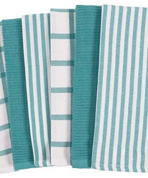 KAF Home Mixed Flat Terry Kitchen Towels Set Of 6 18 X 28 Inches 4 Flat Weave Towels For Cooking And Drying Dishes And 2 Terry Towels For House Cleaning And Tackling Messes And Spills Teal 0 300x360