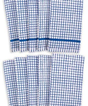 KAF Home Set Of 10 Grid Terry Kitchen Towels 20 X 30 Inches 100 Cotton Bleach Safe Ultra Absorbent Terry Dish Towels Blue 0 0 300x360