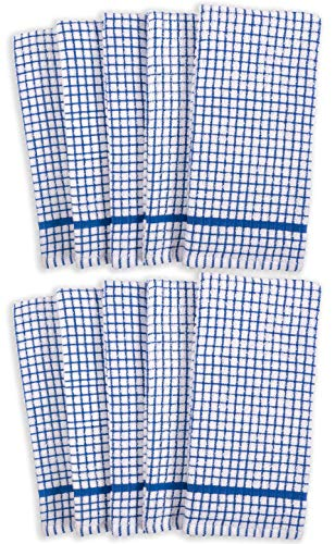 KAF Home Set Of 10 Grid Terry Kitchen Towels 20 X 30 Inches 100 Cotton Bleach Safe Ultra Absorbent Terry Dish Towels Blue 0 0