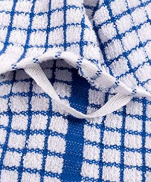 KAF Home Set Of 10 Grid Terry Kitchen Towels 20 X 30 Inches 100 Cotton Bleach Safe Ultra Absorbent Terry Dish Towels Blue 0 1 300x360