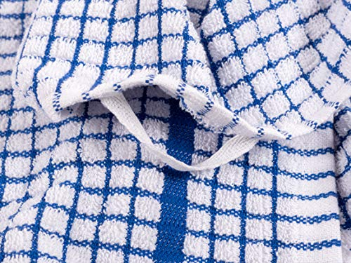 KAF Home Set Of 10 Grid Terry Kitchen Towels 20 X 30 Inches 100 Cotton Bleach Safe Ultra Absorbent Terry Dish Towels Blue 0 1
