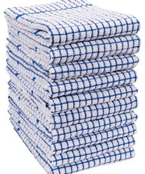 KAF Home Set Of 10 Grid Terry Kitchen Towels 20 X 30 Inches 100 Cotton Bleach Safe Ultra Absorbent Terry Dish Towels Blue 0 300x360